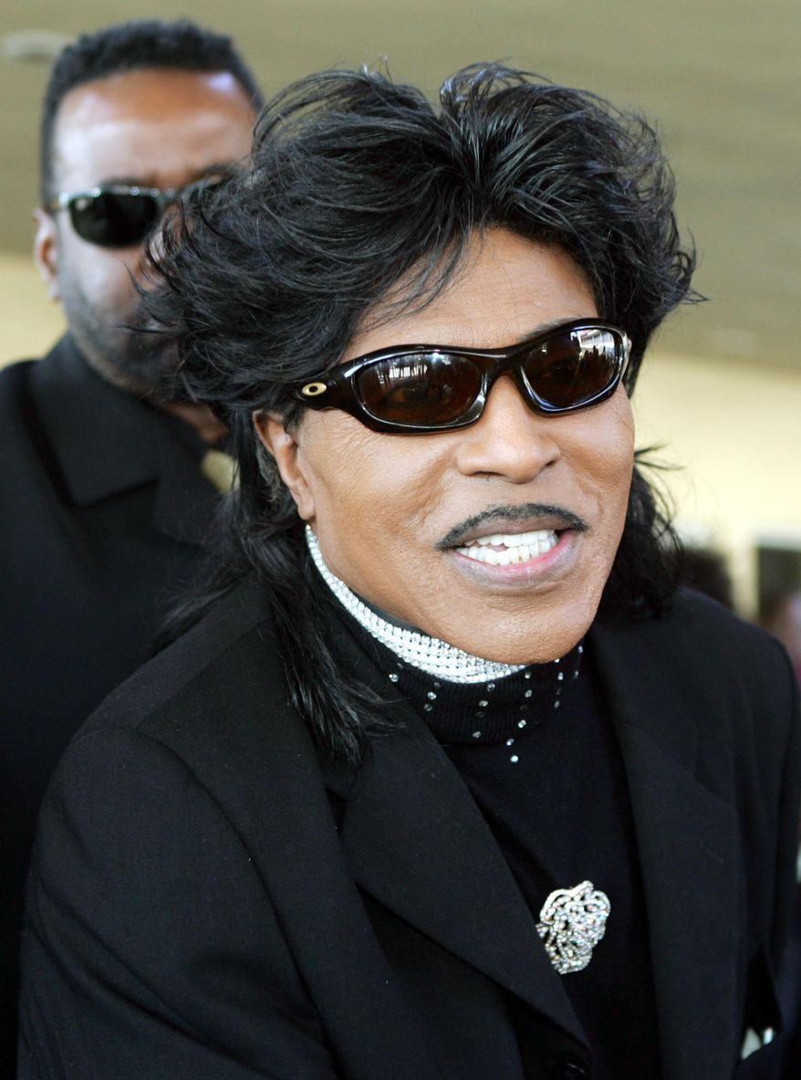 "FILE - Little Richard arrives at the funeral for singer Lou Rawls in Los Angeles in this Jan. 13, 2006 file photo. Former NBA player and coach Sam Mitchell a proud Mercer grad jubilated ""Let me ask you a question: Have you ever heard of Little Richard?"" following Mercer University beating Duke University Friday March 21, 2014. Richard was also from Macon GA.  (AP Photo/Reed Saxon)"