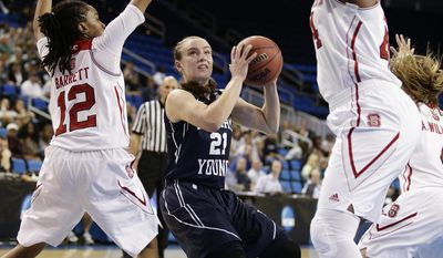 BYU's Lexi Eaton (21) looks to shoot as she is defended by North Carolina State's Krystal Barrett (12), Kody Burke (44) during the first half of a first-round game in the NCAA women's college basketball tournament on Saturday, March 22, 2014, in Los Angeles. (AP Photo/Jae C. Hong)