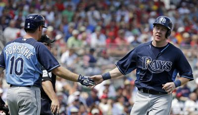 Tampa Bay Rays Ryan Hanigan is greeted by Logan Forsythe (10) on a single by Ray Olmedo in the second inning of an exhibition baseball game in Fort Myers, Fla., Sunday, March 23, 2014. (AP Photo/Gerald Herbert)