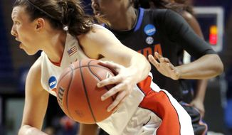 Dayton's Andrea Hoover, left, drives past Florida's January Miller, during the first half of a first-round game in the NCAA college basketball tournament on Sunday, March 23, 2014, in State College, Pa. (AP Photo/Keith Srakocic)