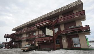 This photo taken Jan. 22, 2014,  shows The Big Timber Motel which is located on 5th Avenue and Unga Street across from Merrill Field in Anchorage, Alaska. (AP Photo/Anchorage Daily News. Bill Roth)