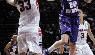 James Madison 's Kirby Burkholder (20) soars to the basket past Gonzaga 's Lindsay Sherbert (33) in the first half Sunday, March 23, 2014, in a first-round NCAA women's basketball game in College Station, Texas.  (AP Photo/Pat Sullivan)