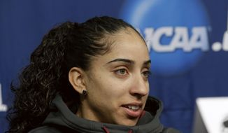 Florida State's Cheetah Delgado speaks at a news conference in Ames, Iowa, Sunday, March 23, 2014. Florida State will play Stanford in the second round of the NCAA women's college basketball tournament in Ames on Monday. (AP Photo/Nati Harnik)
