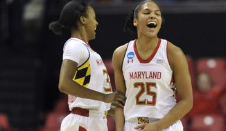Maryland's Alyssa Thomas, right, and Shatori Walker-Kimbrough celebrate after scoring against Army during the first half of the first round of the NCAA women's college basketball tournament on Sunday, March 23, 2014, in College Park, Md.(AP Photo/Gail Burton)