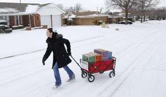FILE - In this file photo from Feb. 6, 2014, Girl Scout Katie Francis pulls her wagon full of boxes of cookies in the snow through a neighborhood in Warr Acres selling cookies in Oklahoma City. Francis says she asks everyone she meets to buy Girl Scout cookies and has broken the organization's decades-old sales record by a margin about the size of a Thin Mint. Francis sold 18,107 boxes in the seven-week sales period that ended Sunday, March 23, 2014. The previous mark was set by Elizabeth Brinton, who sold approximately 18,000 one year in the 1980s. (AP Photo/The Oklahoman, Doug Hoke, File) LOCAL STATIONS OUT (KFOR, KOCO, KWTV, KOKH, KAUT OUT); LOCAL WEBSITES OUT; LOCAL PRINT OUT (EDMOND SUN OUT, OKLAHOMA GAZETTE OUT) TABLOIDS OUT