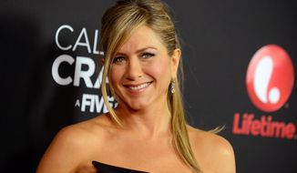 """FILE -- In this April 16, 2013 file photo, Jennifer Aniston arrives at the world premiere of """"Call Me Crazy: A Five Film"""" at the Pacific Design Center in Los Angeles. The 45-year-old actress narrates a 90-second spot about Aveeno's natural ingredients set to premiere Monday, March 24, 2014, online. She has represented the skincare brand since last year. (Photo by Jordan Strauss/Invision/AP, file)"""
