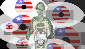 Illustration on government spying on financial data by Alexander Hunter/The Washington Times