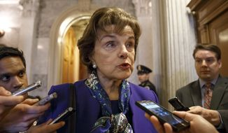 FILE - This March 11, 2014 file photo shows Senate Intelligence Committee Chair Sen. Dianne Feinstein, D-Calif. speaking to reporters as she leaves the Senate chamber on Capitol Hill in Washington. A Senate intelligence committee vote next week to release key sections of a voluminous, still-secret report on terror interrogations would start a declassification process that could severely test the already strained relationship between lawmakers and the CIA, and force President Barack Obama to step into the fray.  (AP Photo/J. Scott Applewhite, File)
