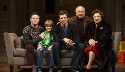 "This undated image released by The O and M Company shows, from left, actors Bobby Steggert, Grayson Taylor, Frederick Weller, playwright Terrence McNally, with actress Tyne Daly from the production ""Mothers and Sons,"" currently performing at the Golden Theatre in New York. (AP Photo/The O and M Company, Joan Marcus)"