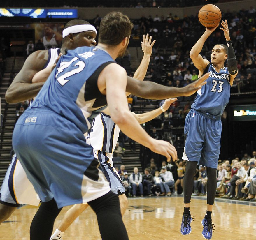 Minnesota Timberwolves guard Kevin Martin (23) shoots against the Memphis Grizzlies in the first half of an NBA basketball game Monday, March 24, 2014, in Memphis, Tenn. (AP Photo/Lance Murphey)