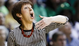 Notre Dame head coach Muffet McGraw reacts  Arizona State during the first half of the second-round game against Arizona in the NCAA women's college basketball tournament in Toledo, Ohio, Monday, March 24, 2014. (AP Photo/Rick Osentoski)