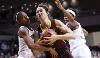 Notre Dame guard Lindsay Allen, left, Arizona State center Joy Burke, center, and Notre Dame forward Ariel Braker, right, go after the rebound during the first half in a second-round game in the NCAA women's college basketball tournament in Toledo, Ohio, Monday, March 24, 2014. (AP Photo/Rick Osentoski)