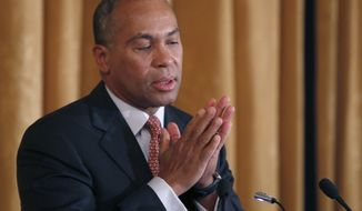 "** FILE ** Mass. Gov. Deval Patrick reacts as he speaks at a forum titled, ""Leading Cities Through Crisis: Lessons from the Boston Marathon"" held at Boston University in Boston, Monday, March 24, 2014. (AP Photo/Elise Amendola)"