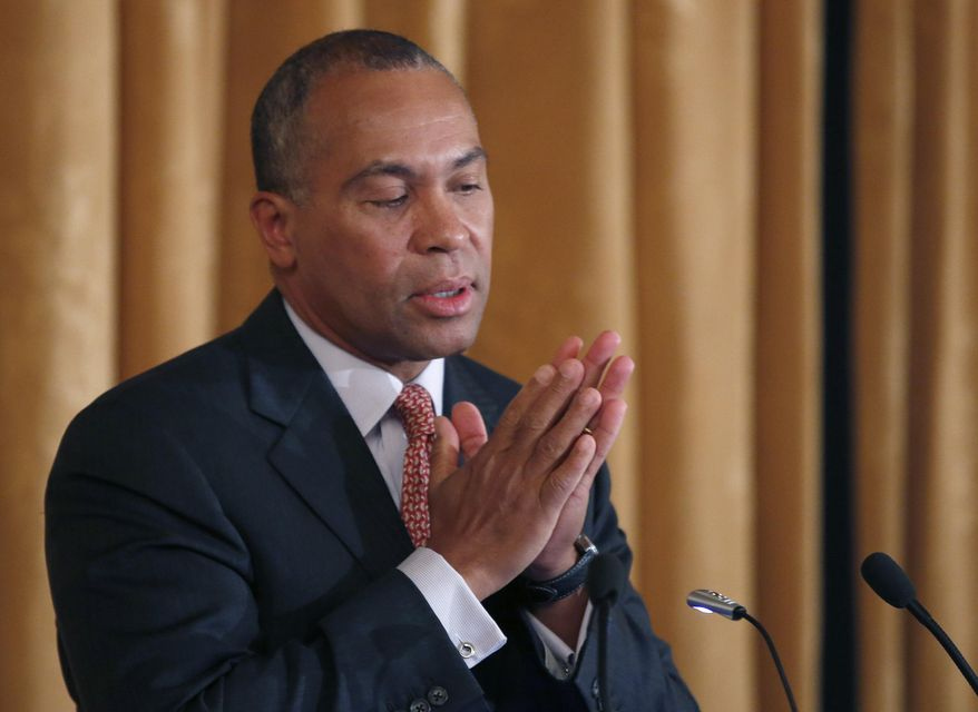 """** FILE ** Mass. Gov. Deval Patrick reacts as he speaks at a forum titled, """"Leading Cities Through Crisis: Lessons from the Boston Marathon"""" held at Boston University in Boston, Monday, March 24, 2014. (AP Photo/Elise Amendola)"""