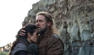 "This image released by Paramount Pictures shows Jennifer Connelly, left, and Russell Crowe in a scene from ""Noah."" (AP Photo/Paramount Pictures, Niko Tavernise)"