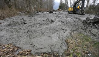 Thick, oozing mud is cleared from Washington Highway 530 by workers using heavy equipment, Tuesday, March 25, 2014, on the western edge of the massive mudslide that struck the area Saturday, killing at least 14 people and leaving dozens missing, near Arlington, Wash. (AP Photo/Ted S. Warren, Pool)