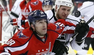 Washington Capitals defenseman Jack Hillen (38) and Los Angeles Kings left wing Kyle Clifford (13) keep their eye on the puck in the first period of an NHL hockey game, Tuesday, March 25, 2014, in Washington. (AP Photo/Alex Brandon)