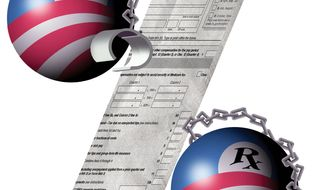 Illustration on Obama tax increases by Alexander Hunter/The Washington Times