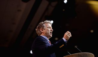 States man: Rand Paul is easily in front of the presidential pack, but politics in Kentucky and Iowa may pose hurdles. (Andrew Harnik/The Washington Times)