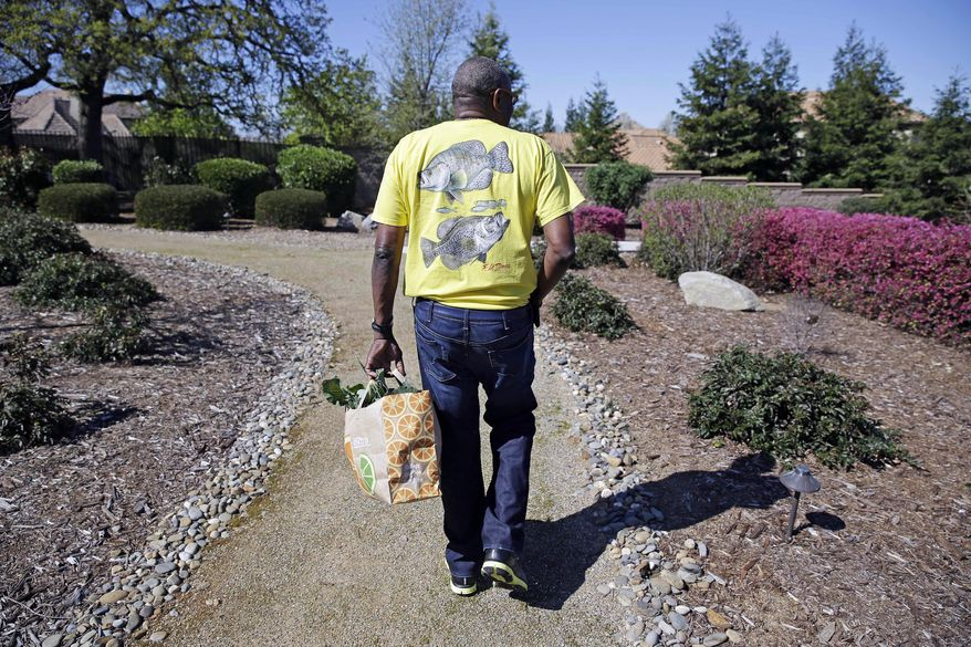In this March 13, 2014 photo, Dusty Baker carries a bag of greens he just cut while walking through the yard at his home in Granite Bay, Calif. While his former players and fellow managers are busy preparing for opening day, Baker is busy tending to his crops, planning his next plantings and minding his vineyard and the several hybrid fruit trees that border it. Out of uniform for the first time since taking 2007 off between managerial jobs with the Cubs and Reds, Baker is not slowing down much from his pressure-packed days in the dugout. (AP Photo/Eric Risberg)