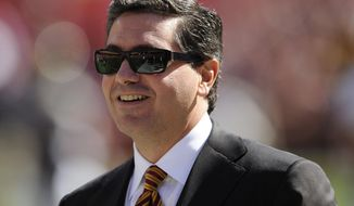 "FILE - In this Oct. 12, 2008 file photo, Washington Redskins owner Daniel Snyder is seen before the St. Louis Rams NFL football game in Landover, Md. Snyder says it's time to put some money behind his claim that his team's nickname honors Native Americans. Snyder said Monday March 24, 2014, he's creating a foundation to assist American Indian tribes, even as some in that community continue to assert that the name ""Redskins"" is offensive. (AP Photo/Nick Wass, File)"