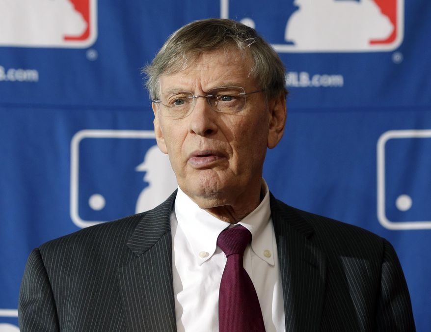 FILE - In this Aug. 15, 2013, file photo, Baseball Commissioner Bud Selig speaks during a news conference in Cooperstown, N.Y. People familiar with the negotiations tell The Associated Press that baseball players and management hope to reach a new drug agreement this week that would increase initial penalties for muscle-building steroids and decrease suspensions for some positive tests caused by unintentional use. (AP Photo/Mike Groll, File)
