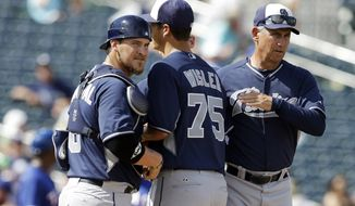 San Diego Padres' Matt Wisler, center, is taken out of the game by manager Bud Black during the third inning of a spring exhibition baseball game against the Texas Rangers, Sunday, March 23, 2014, in Surprise, Ariz. Catcher Yasmani Grandal is at left. (AP Photo/Darron Cummings)