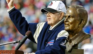 FILE - In this Nov. 1, 2009, file photo, Buffalo Bills owner Ralph Wilson Jr. celebrates his Hall of Fame induction at a half-time ceremony during the NFL football game against the Houston Texans in Orchard Park, N.Y. Bills owner Wilson Jr. has died at the age of 95. NFL.com says team president Russ Brandon announced his death at the league's annual meeting in Orlando, Fla., Tuesday, March 25, 2014. He was one of the original founders of the American Football League and owned the Bills for the last 54 years. (AP Photo/Don Heupel, File)