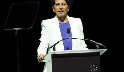 Donna Langley, chairman of Universal Pictures, addresses the audience during the Universal Pictures presentation at CinemaCon 2014 on Tuesday, March 25, 2014 in Las Vegas. (Photo by Chris Pizzello/Invision/AP)