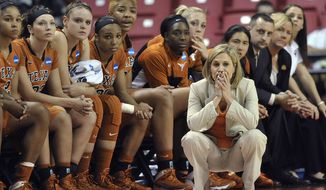 Texas coach Karen Aston watches the final seconds against Maryland in a second-round game of the NCAA women's college basketball tournament, Tuesday, March 25, 2014, in College Park, Md. Maryland won 69-64. (AP Photo/Gail Burton)