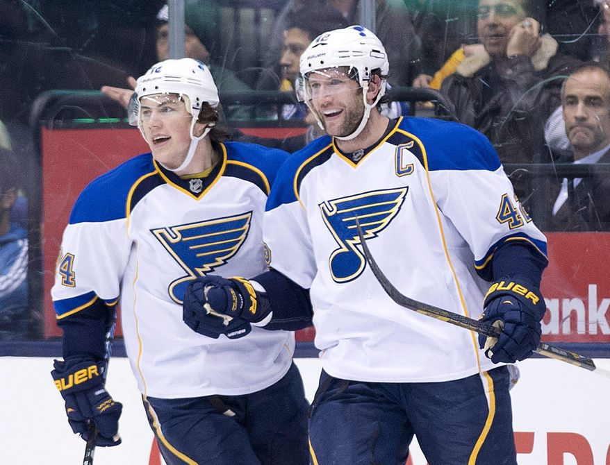St. Louis Blues forward David Backes, right, celebrates his goal with teammate T.J. Oshie while playing against the Toronto Maple Leafs during second period NHL hockey action in Toronto on Tuesday, March 25, 2014. (AP Photo/The Canadian Press, Nathan Denette)