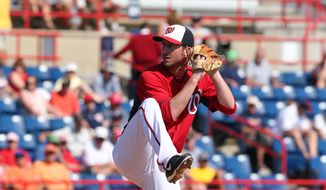 Jerry Blevins of the Washington Nationals pitches during their Grapefruit League game against the Detroit Tigers during Spring Training at Space Coast Stadium in Viera, Florida on March 20, 2014.    Photo by Gregg Newton