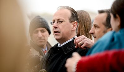 Paul Clement who argued before the Supreme Court on behalf of the Hobby Lobby Stores, Inc. and Conestoga Wood delivers a statement to members of the media after the Supreme Court hears oral arguments in Affordable Care Act challenges, the Sebelius v. Hobby Lobby Stores Inc. and Conestoga Wood Specialties Corp. v. Sebelius, which mandate that private insurance plans must cover birth control, Washington, D.C., Tuesday, March 25, 2014. (Andrew Harnik/The Washington Times)