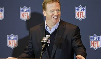 NFL Commissioner Roger Goodell answers questions during a news conference at the NFL football annual meeting in Orlando, Fla., Wednesday, March 26, 2014. (AP Photo/John Raoux)