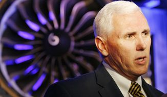 ** FILE ** Indiana Gov. Mike Pence speaks during a presentation Wednesday, March 26, 2014, in West Lafayette, Ind., where GE Aviation announced plans to build a $100 million jet engine manufacturing plant in Lafayette to fill orders for its new passenger airline engine. (AP Photo/Journal & Courier, John Terhune)