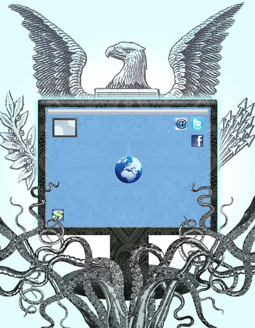 Illustration on U.N. control of the internet by Alexander Hunter/The Washington Times