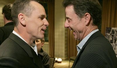 ** FILE ** Former co-captain of the Providence College Friars basketball team Billy Donovan, left, chats with a former coach of the team, Rick Pitino, in Providence, R.I., in this  May 11, 2007 file photo, at a 20th-anniversary celebrations of the 1986-87 team's trip to the Final Four.  (AP Photo/Steven Senne)