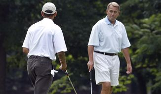 "In this photo taken June 18, 2011, President Barack Obama and House Speaker John Boehner, R-Ohio, right, play the first hole of golf at Andrews Air Force Base, Md. On ABC's ""This Week"" Sunday, Nov. 6, 2011, Boehner said the relationship with his one-time golf partner has grown ""a little frosty"" over the last few weeks. He said Obama is engaging in ""class warfare"" by pushing for higher taxes for wealthy Americans, that the rich pay enough taxes, and that it's wrong for the president to ""pit one set of Americans against another."" (AP Photo/Charles Dharapak)"