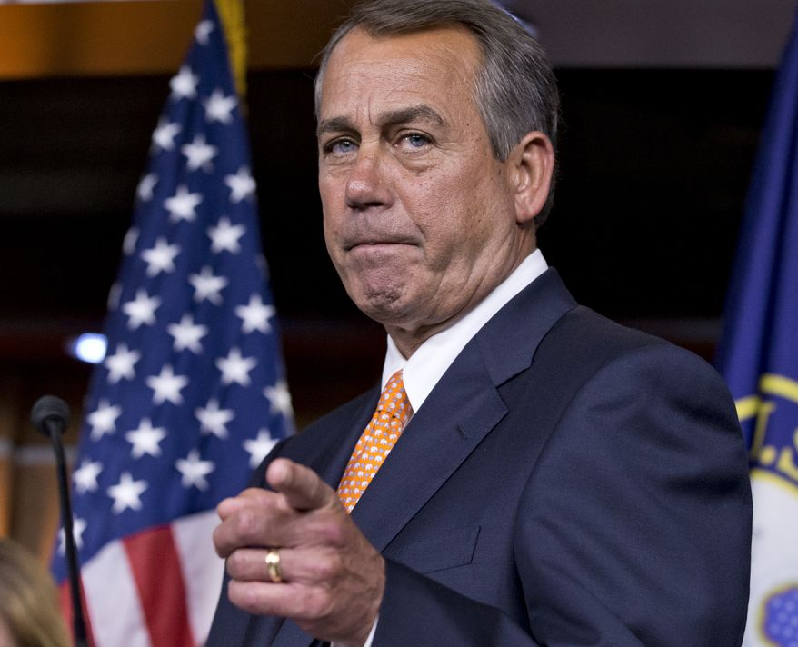 House Speaker John Boehner of Ohio gestures as he speaks to reporters, on Capitol Hill in Washington, Wednesday, March 13, 2013, following a closed-door meeting with President Barack Obama and House Republicans to discuss the budget.   (AP Photo/J. Scott Applewhite) **FILE**