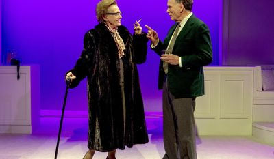 """This image released by Abingdon Theatre Company are Roberta Maxwell and Dick Cavett in a scene from """"Hellman v. McCarthy,""""  currently performing off-Broadway in New York.  (AP Photo/Abingdon Theatre Co.; Kim T. Sharp)"""