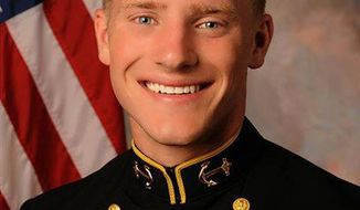 This photo provided by the U.S. Naval Academy shows Navy football player Will McKamey, who has been hospitalized since collapsing at practice three days ago, died Tuesday March 25, 2014 while in a coma. He was 19. (AP Photo/U.S. Naval Academy)