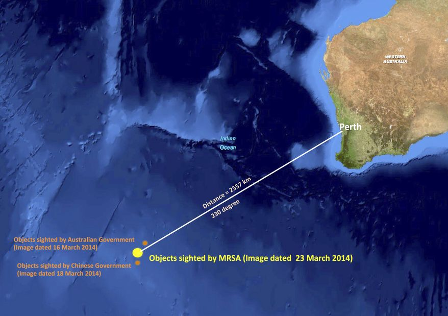 This graphic released by the Malaysian Remote Sensing Agency on Wednesday, March 26, 2014, shows the approximate position of objects seen floating in the southern Indian Ocean in the search zone for the missing Malaysia Airlines flight MH370. Malaysian Defense Minister Hishammuddin Hussein said at a news conference in Kuala Lumpur, Wednesday that a satellite has captured images of 122 objects close to where three other satellites previously detected objects. (AP Photo/Malaysian Remote Sensing Agency)