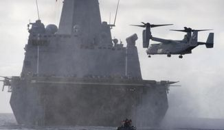 An MV-22 Osprey attached to Marine Medium Tiltrotor Squadron 161 approaches for a landing aboard the San Antonio-class amphibious transport dock ship Anchorage. (U.S. Navy)