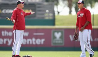 Nationals first-year manager Matt Williams and shortstop Ian Desmond discuss strategy during practice before a Grapefruit League game against the Tigers in Viera, Fla. The success of first-time managers like the Cardinals' Mike Matheny has led to a trend of teams hiring managers who have no managerial experience in the majors or minors. Williams, the Reds' Bryan Price and the Tigers' Brad Ausmus fit that description heading into the season. (Gregg Newton/special to the Washington Times)