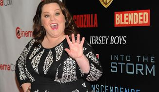 "Melissa McCarthy, a cast member, writer and producer of the upcoming film ""Tammy,"" waves to photographers before the Warner Bros. presentation at CinemaCon 2014 on Thursday, March 27, 2014, in Las Vegas. (Photo by Chris Pizzello/Invision/AP)"