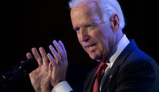 ** FILE ** Vice President Joe Biden gestures as he speaks at the U.S. Hispanic Chamber of Commerce's 2014 Legislative Summit in Washington, Thursday, March 27, 2014. (AP Photo/Carolyn Kaster)