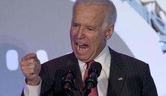 Vice President Joe Biden gestures as he speaks at the U.S. Hispanic Chamber of Commerce's 2014 Legislative Summit in Washington, Thursday, March 27, 2014. (AP Photo/Carolyn Kaster