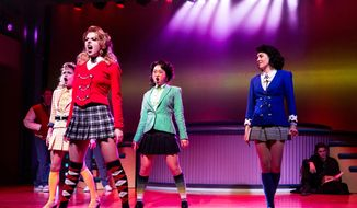 "This image released by Vivacity Media Group shows the cast in a scene from the musical ""Heathers"" performing at New World Stages in New York. (AP Photo/Vivacity Media Group, Chad Batka)"