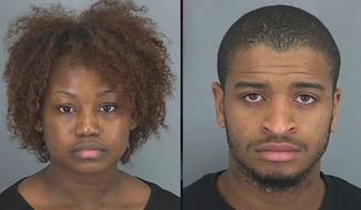 Sheelah Thompson, 22, and her 23-year-old boyfriend Tyler Ford were allegedly fighting about their relationship when Ford rolled up an anger management book and hit her. She responded by cutting him. (Spartanburg County Detention Center)