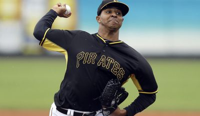 Pittsburgh Pirates pitcher Stolmy Pimentel throws during the first inning of a spring exhibition baseball game against the New York Yankees in Bradenton, Fla., Thursday, March 27, 2014. (AP Photo/Carlos Osorio)